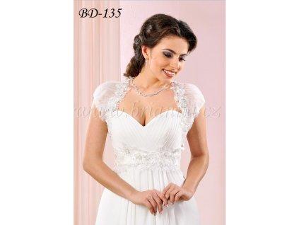 Romantické svatební bolerko zdobené krajkou - bílé: BD-135 SLEVA