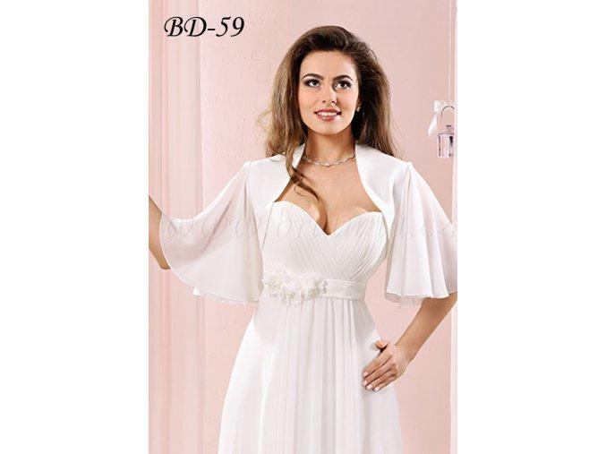 Svatební bolerko s širokými šifonovými rukávy - bílé: BD-59  SLEVA