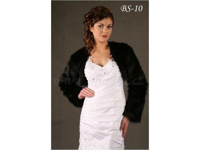 Svatební bolerko z imitace kožešiny - černé: BS-10 K