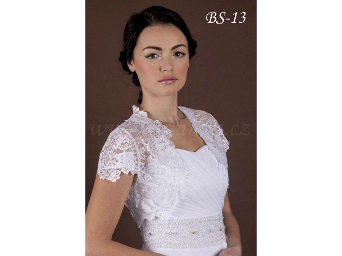 Svatební bolerko z jemné květinové krajky - bílé: BS-13