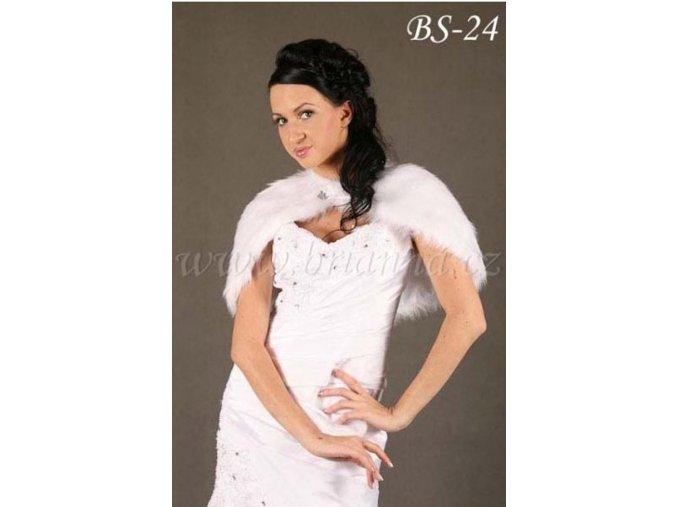 Svatební pelerínka z imitace kožešiny  BS-24 V, bílá - SLEVA