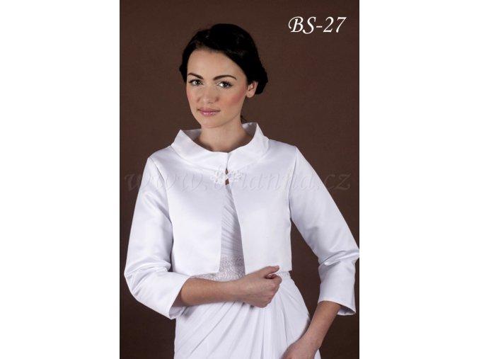 Krátký svatební kabátek se zapínáním u krku - bílý: BS-27