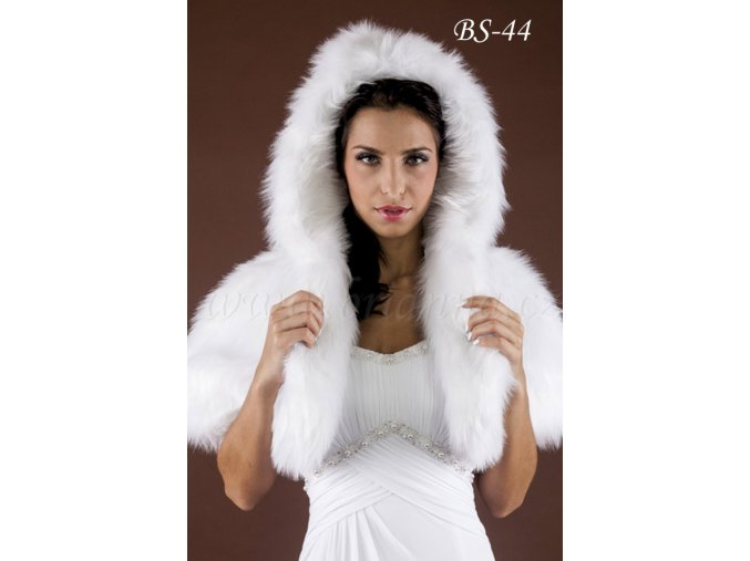 Svatební kožešinová pelerínka s kapucí - bílá: BS-44