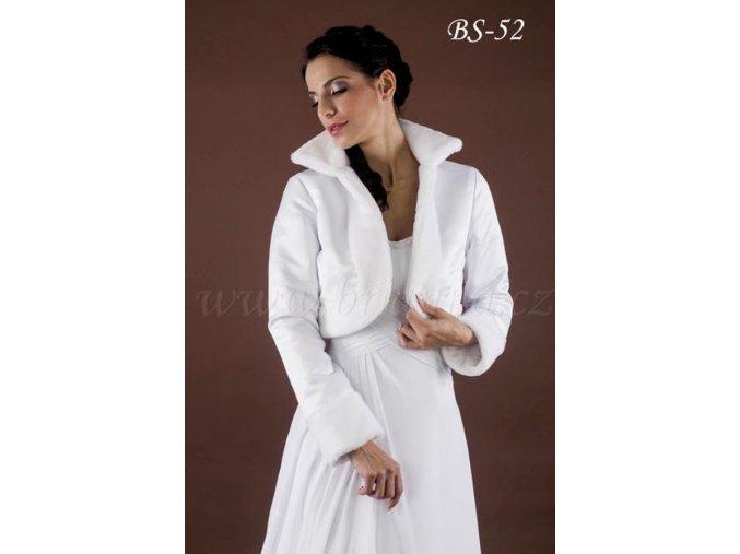 Teplý svatební kabátek lemovaný kožešinou - bílý: BS-52
