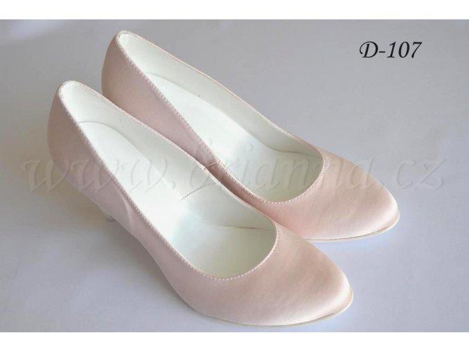 Saténové svatební boty - pudrové  SLEVA