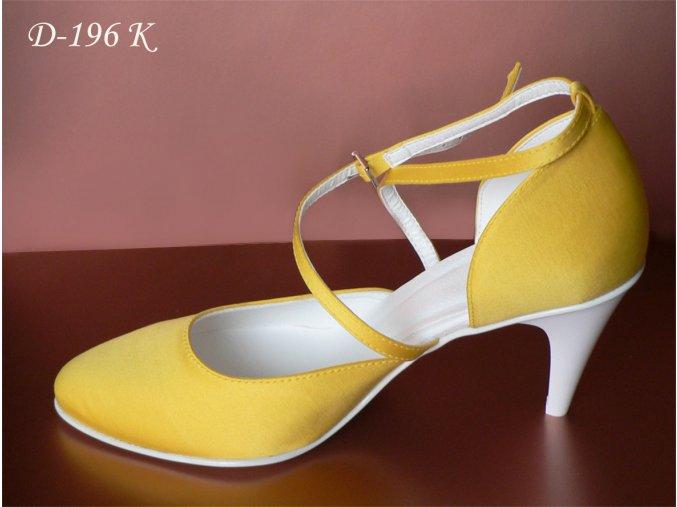 Jednoduché svatební boty s křížovým zapínáním - tmavě žluté