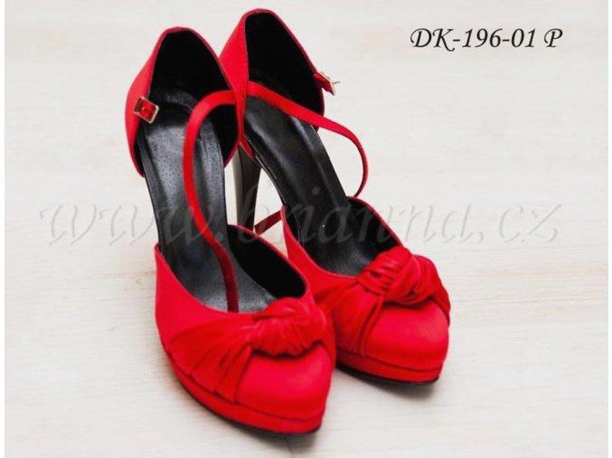 Saténové svatební boty s ozdobným uzlem - červené