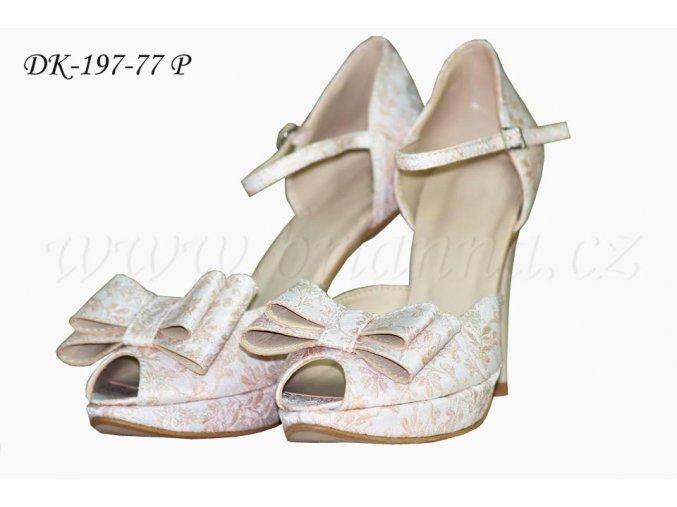 Brokátové svatební boty - lososové