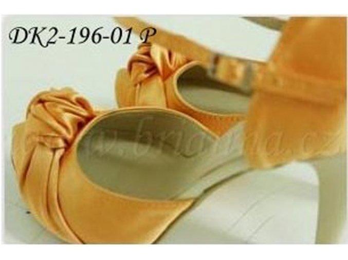 Saténové svatební boty s ozdobným uzlem - pomerančové