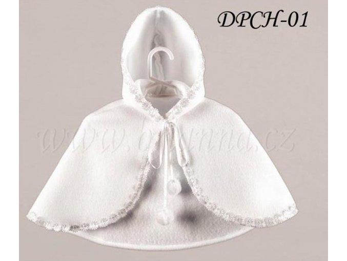 Dětská pelerínka lemovaná bílými kytičkami, bílá: DPCH-01  SLEVA
