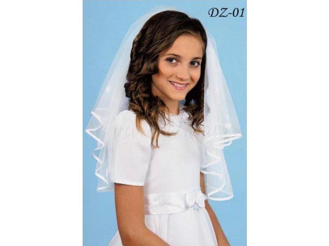 Dětský svatební závoj s kytičkami lemovaný saténem DZ-01