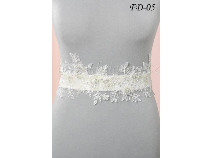 Svatební pás na šaty s květinovou krajkou FD-05