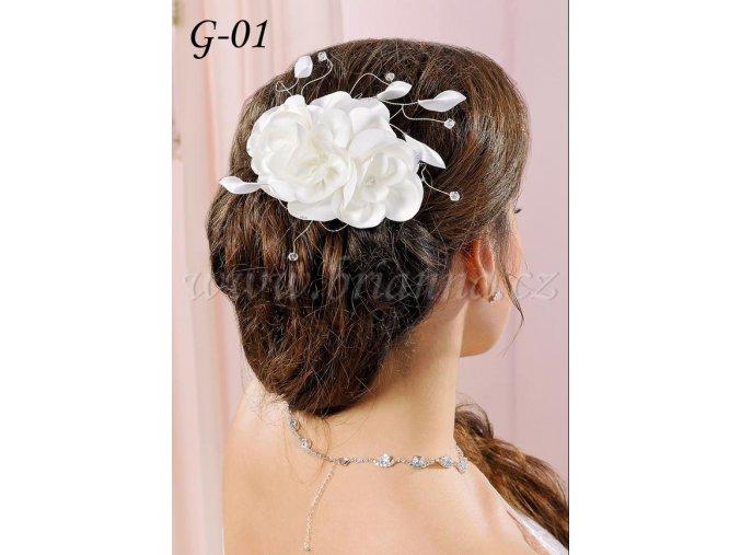 Svatební hřeben se saténovou květinou G-01 SLEVA
