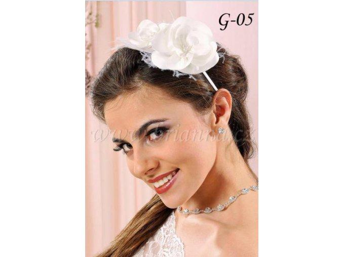 Svatební čelenka se saténovou květinou G-5, bílá  SLEVA