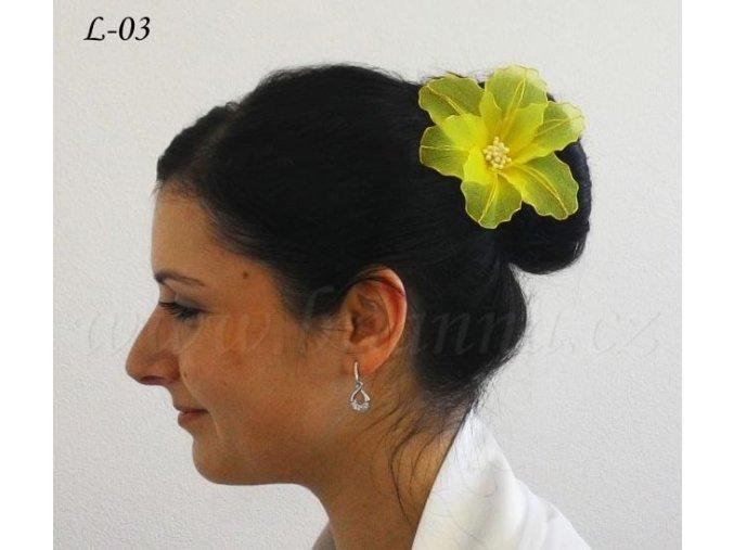 Svatební květina do vlasů z nylonu, žlutá L-03