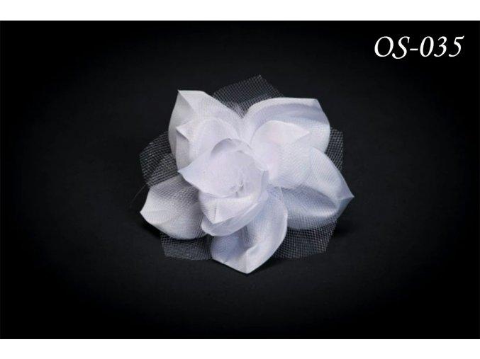Květinová ozdoba na svatební šaty s krystaly OS-004