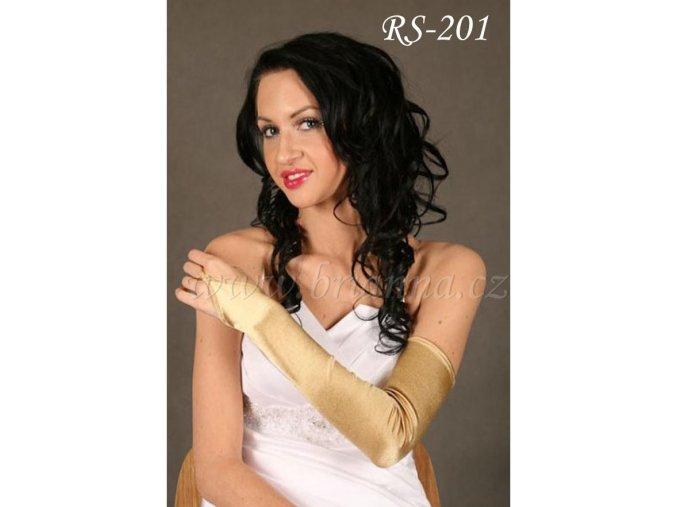 Svatební rukavice nad loket - zlaté, RS-201