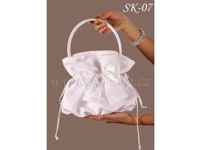 Svatební saténová kabelka s mašlí SK-07