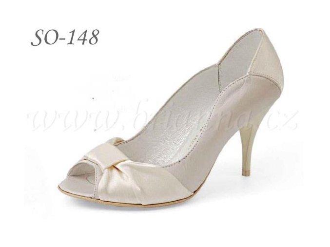 Kožené svatební boty - ecru, sleva