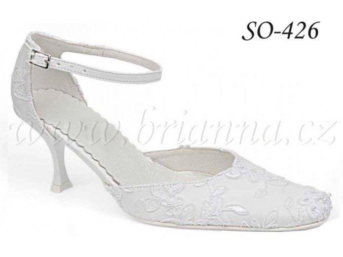 Svatební boty s výšivkou - bílé, sleva