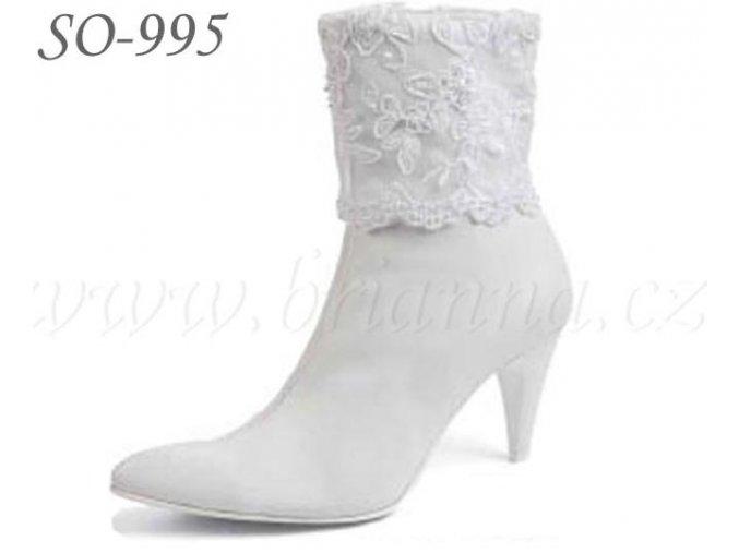 Kožené svatební boty - bílé