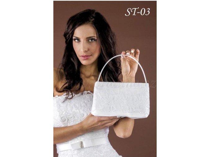 Svatební saténová kabelka s krajkou ST-03