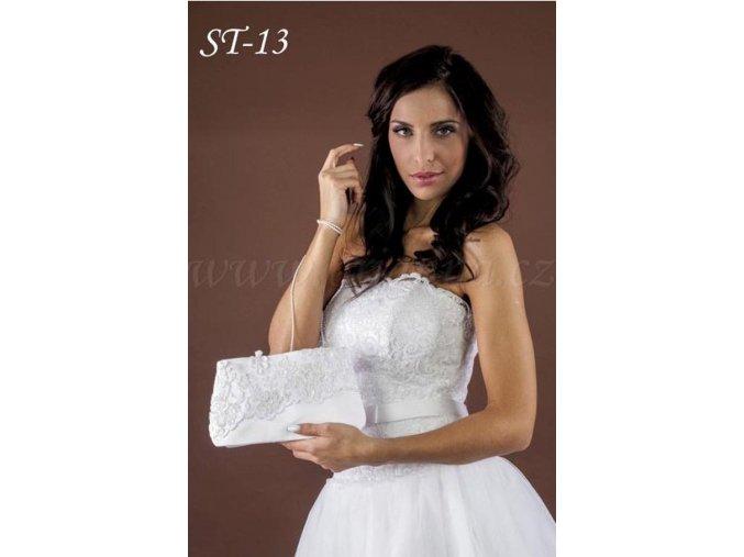 Svatební saténová kabelka s krajkou ST-13