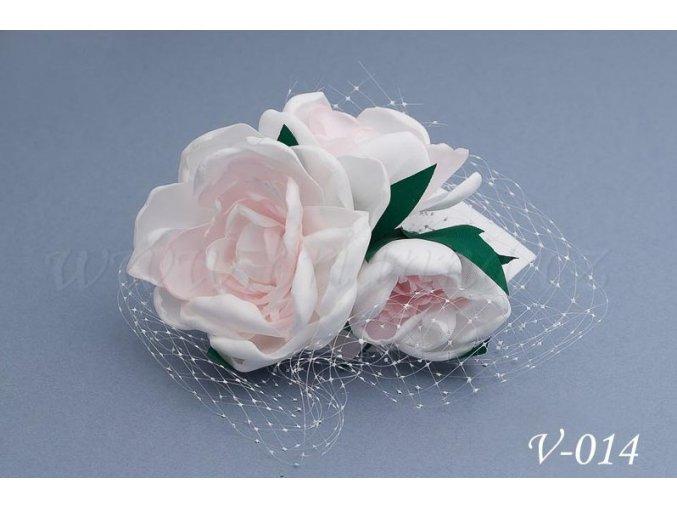 Svatební hřeben do vlasů - květy se síťkou V-014