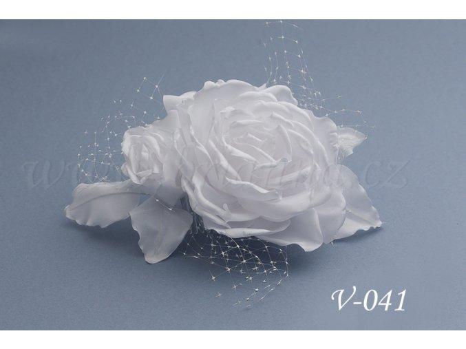 Svatební hřeben do vlasů růže V-041