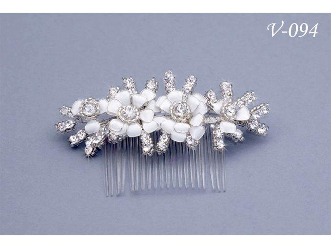 Svatební hřeben do vlasů s květy a korálky V-151