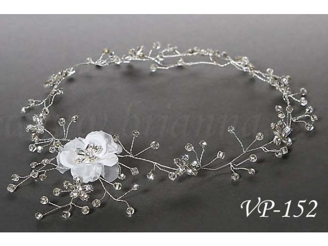 Svatební ozdoba do vlasů - květinový pás VP-152