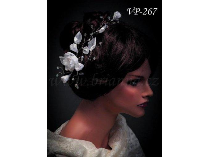 Svatební ozdoba do vlasů -  pás květinami a krystaly VP-267