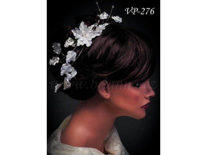 Svatební ozdoba do vlasů - pás s lístky a krystaly VP-276