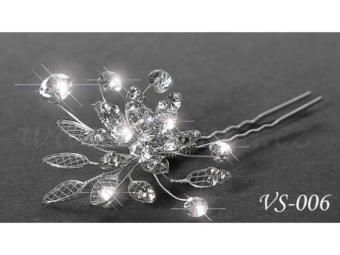 Svatební vlásenka s krystaly VS-006