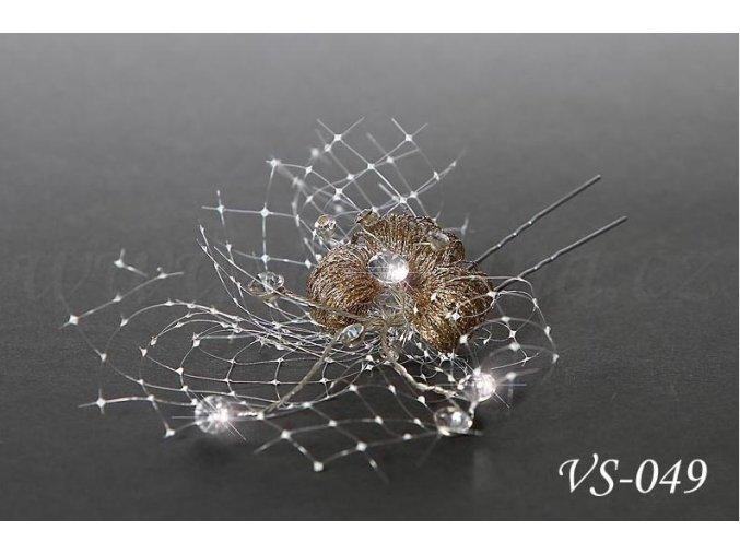 Svatební vlásenka, zlatý květ se síťkou VS-049