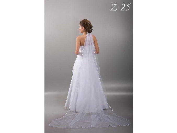 Dlouhý svatební závoj se saténovým lemem Z-25