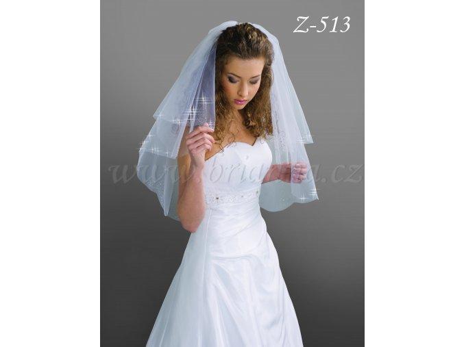 Svatební závoj s 2600 malými krystaly Z-513 ivory SLEVA