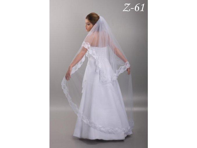 Dlouhý svatební závoj s širokou krajkou Z-61