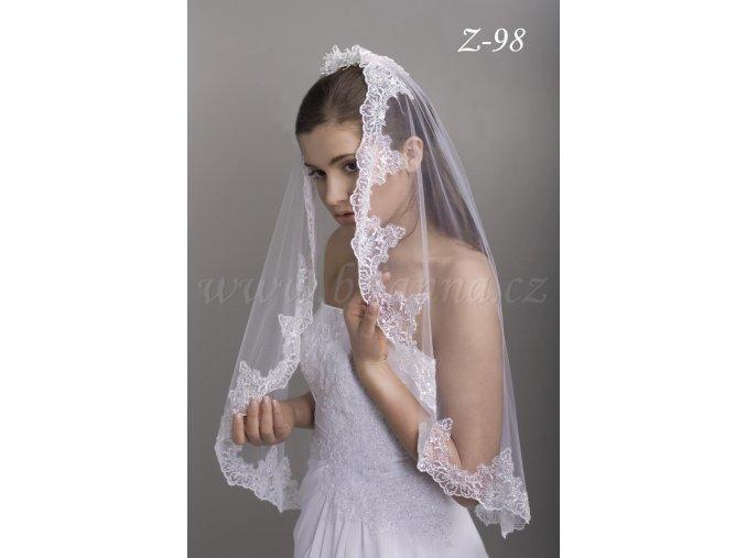 Svatební závoj se španělskou vyšívanou krajkou Z-98
