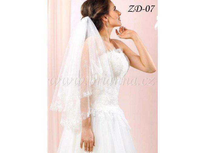 Svatební závoj vyšívaný, zdobený korálky a krystaly ZD-07
