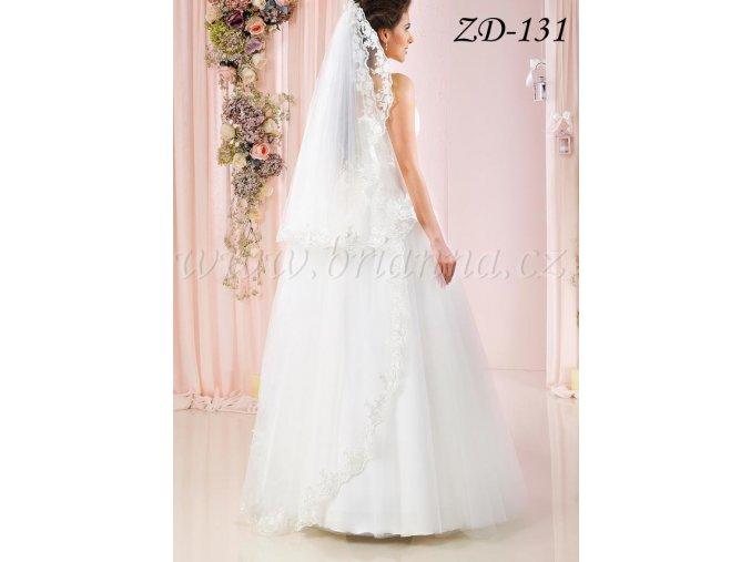 Dlouhý svatební závoj s krajkou ZD-131, ivory  SLEVA