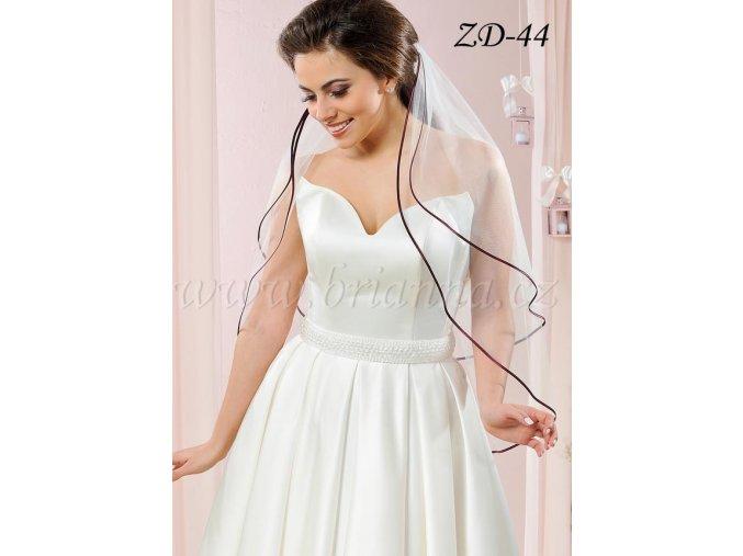 Krátký svatební závoj s BORDO saténovým lemem, bílý: ZD-44 V  SLEVA