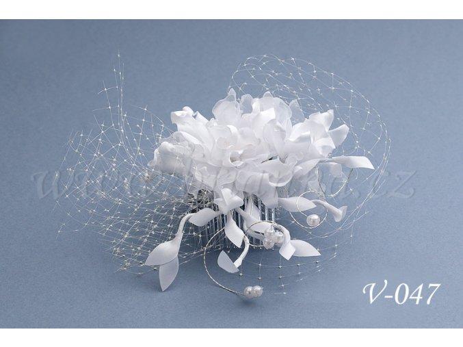 Svatební květina do vlasů se síťkou V-047