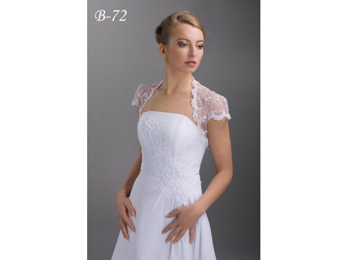 Vyšívané tylové svatební bolerko s krátkým rukávem - bílé: B-72