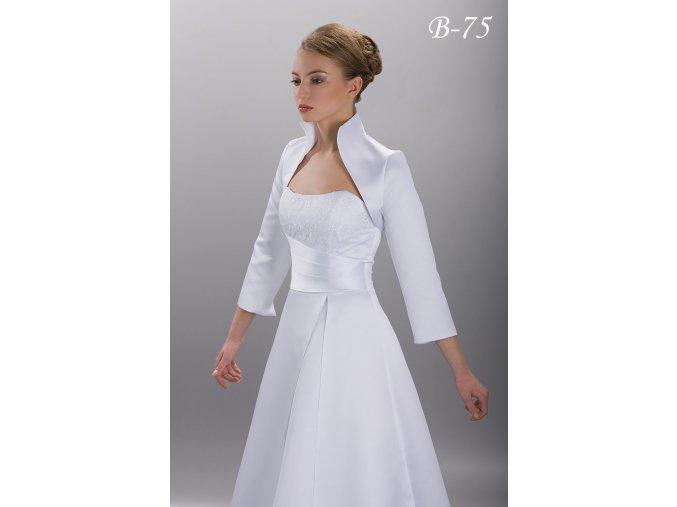 Saténové svatební bolerko s vysokým límcem - bílé: B-75