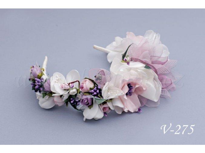 Svatební květinová čelenka V-275