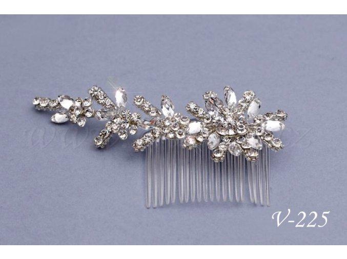 Svatební štrasová květina do vlasů, na hřebínku V-225