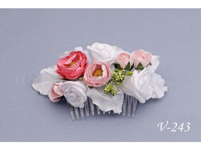 Svatební květinový hřeben do vlasů V-243