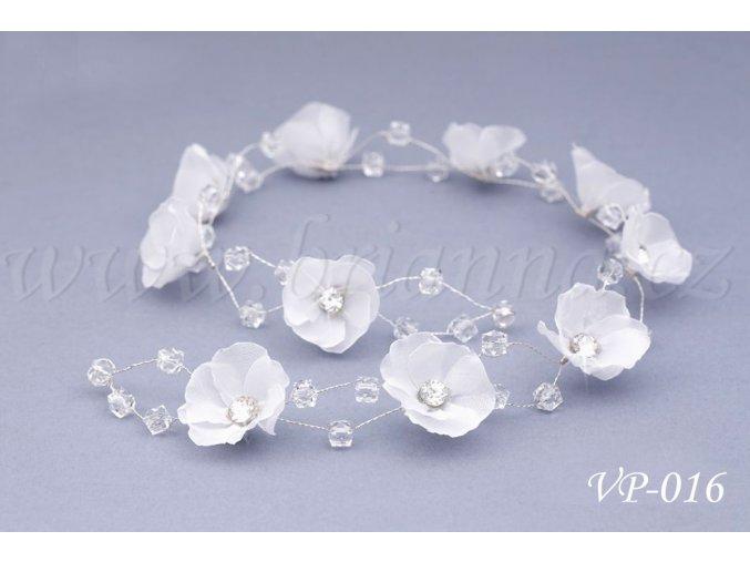 Svatební ozdoba do vlasů - květinový pás s krystaly VP-016
