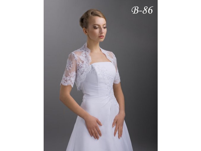 Svatební krajkové bolerko s krátkým rukávem bílé B-86